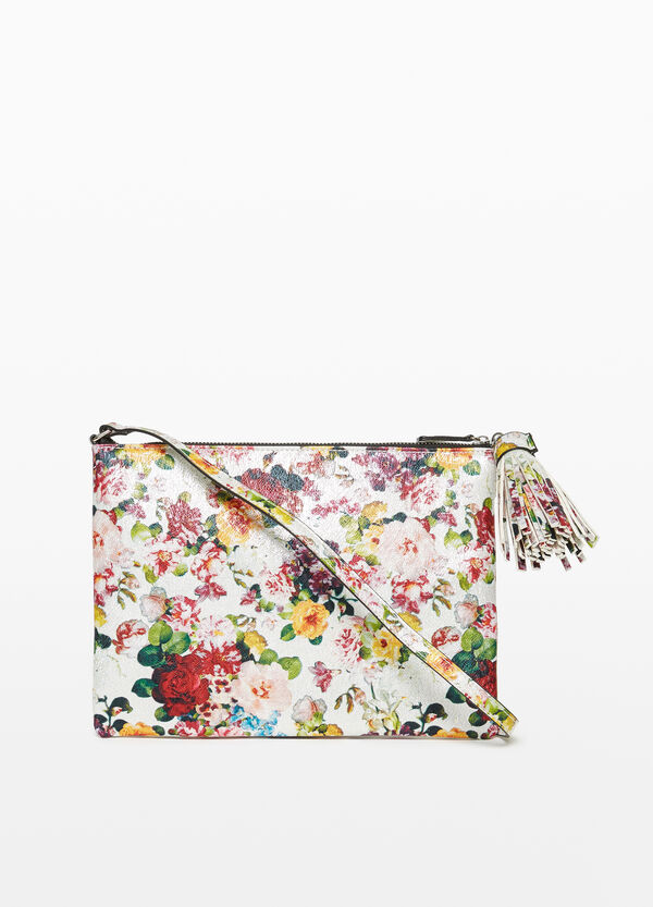 Floral clutch with shoulder strap