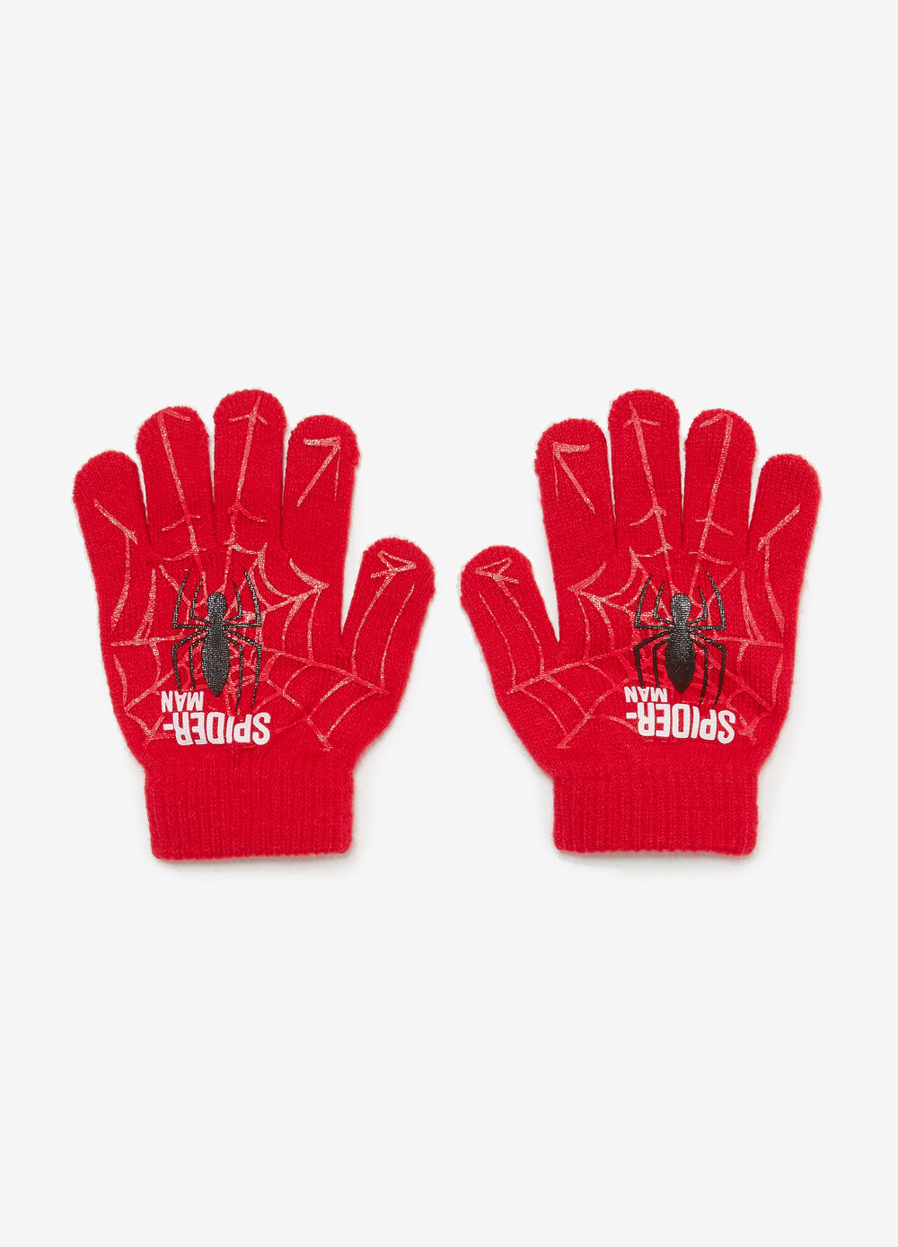 Gloves with Spiderman maxi print