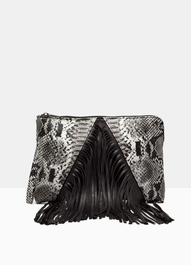 Snakeskin clutch with fringes