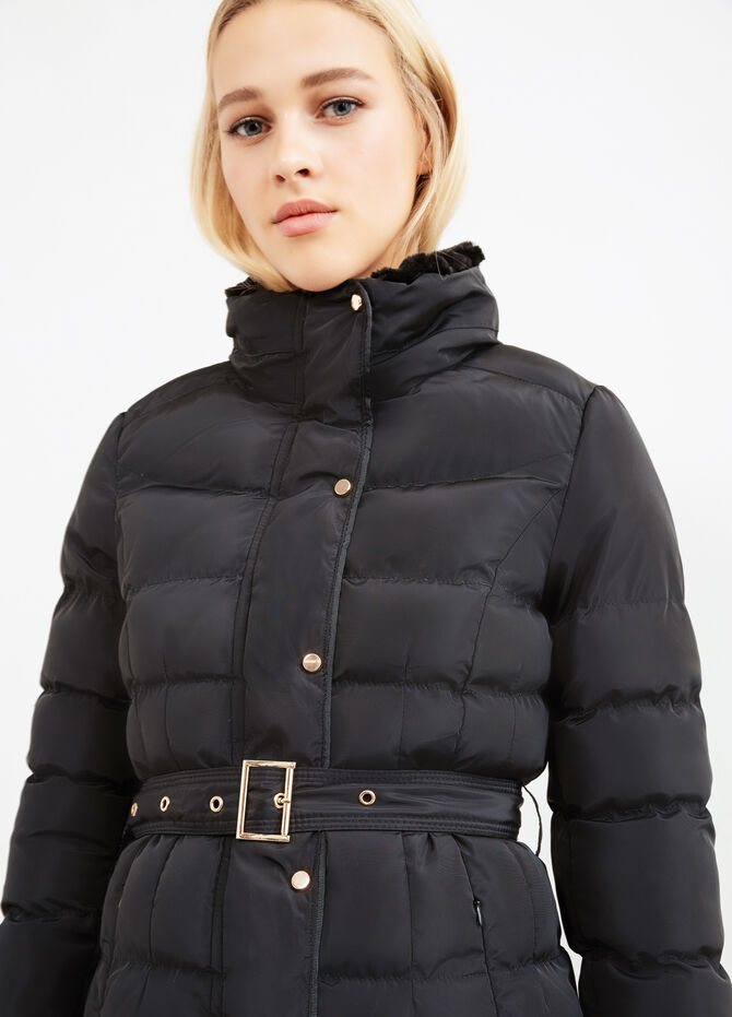 Jacket with high neck and belt