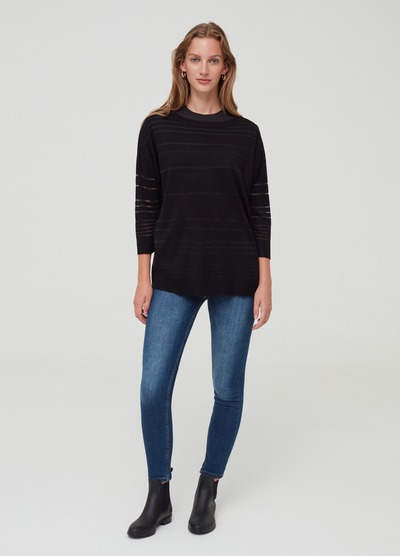 Top with drop shoulders and boat neck image number null