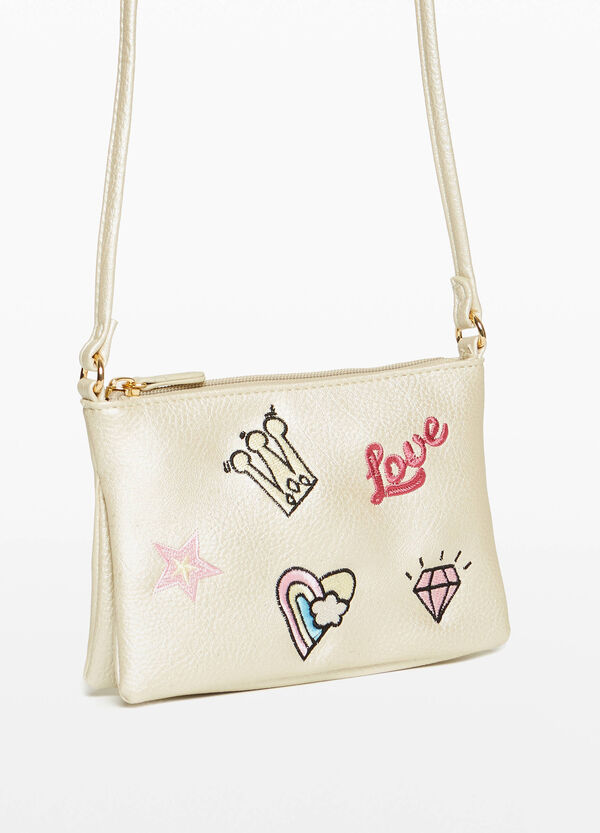 Textured shoulder bag with embroidery