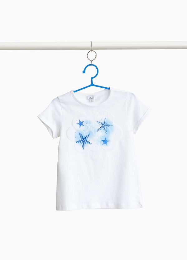 T-shirt cotone stretch con strass e stelle