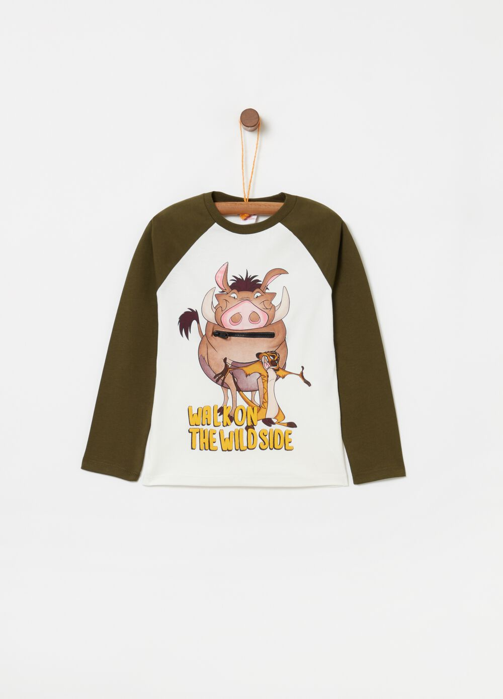 Cotton T-shirt with long raglan sleeves