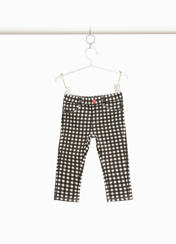 100% cotton check patterned trousers