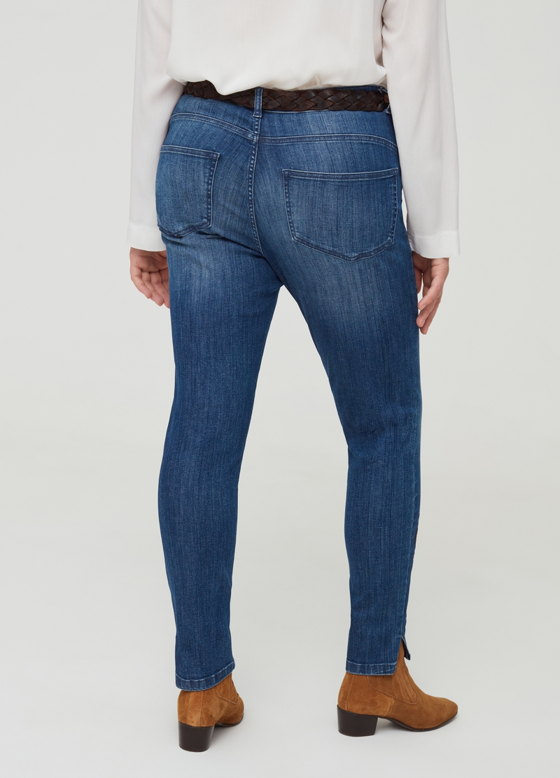 Curvy five-pocket jeans with embroidered motif image number null