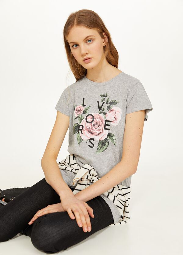 Printed T-shirt in 100% mélange cotton