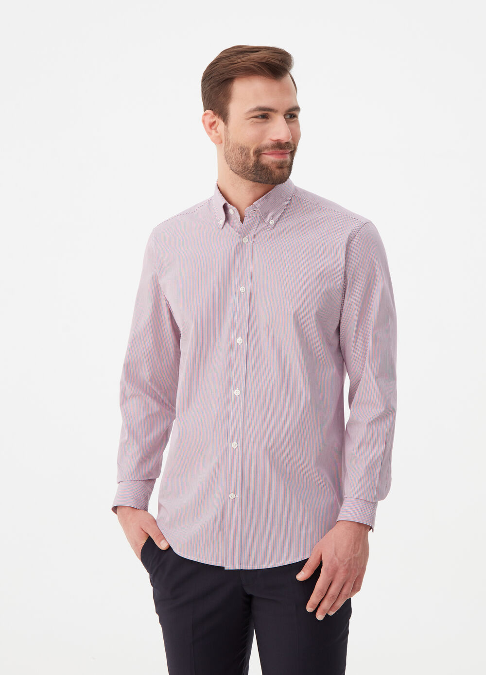 Camicia regular fit button-down a righe