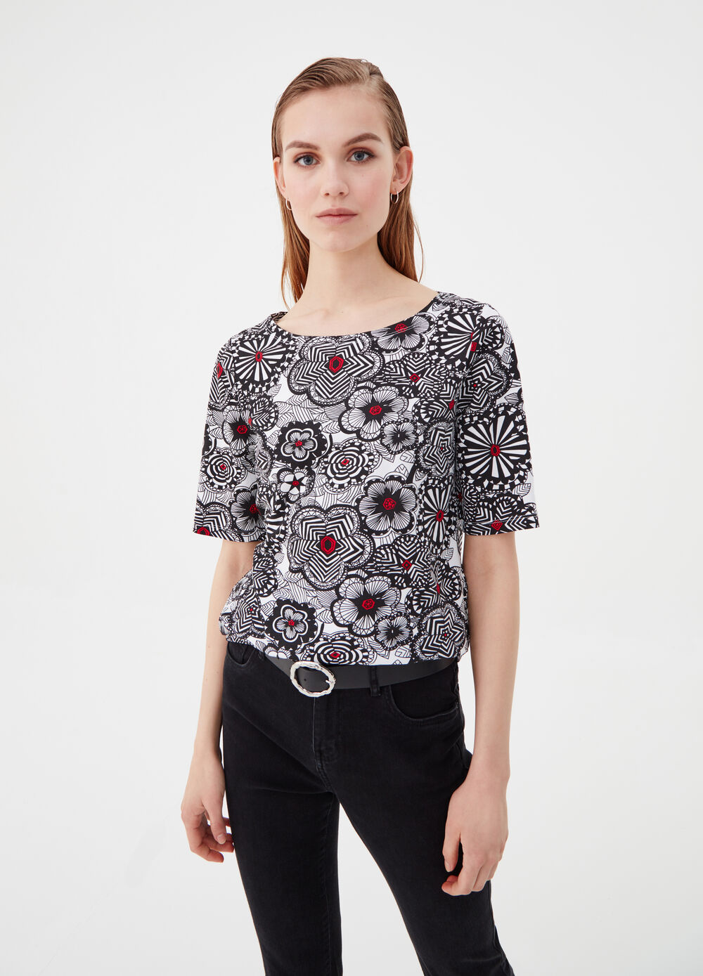 Stretch cotton T-shirt with floral pattern
