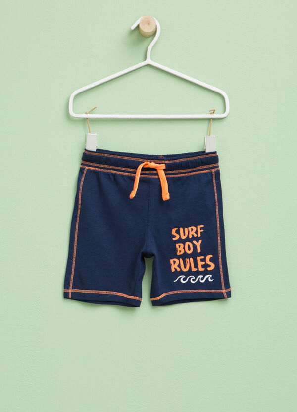 Bermuda shorts with drawstring and printed lettering | OVS