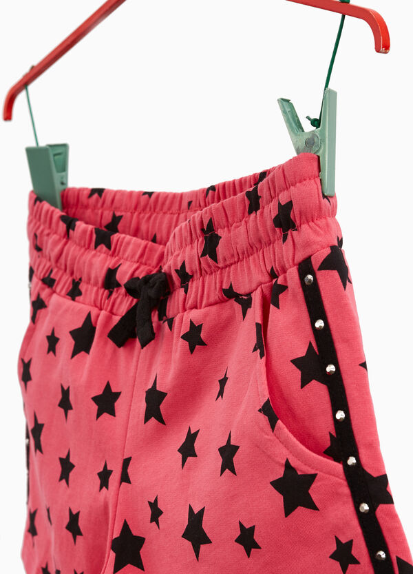 Cotton shorts with stars and studs bands