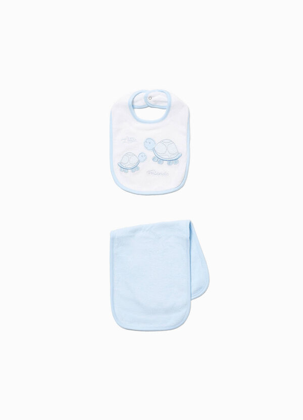 Turtle towel and bib set
