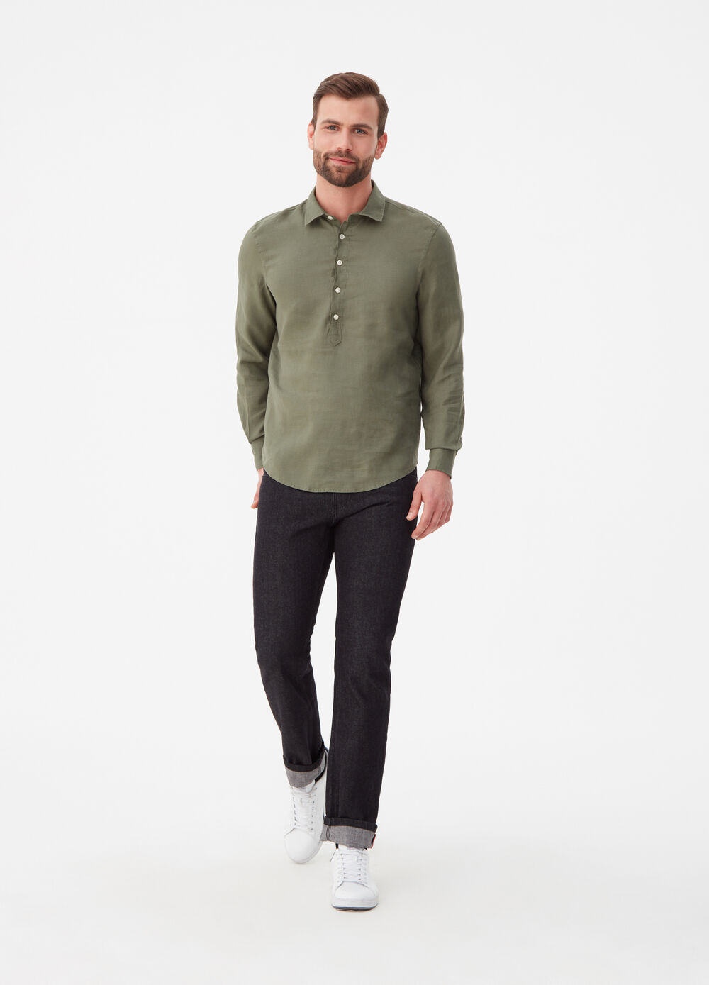 Regular-fit shirt in 100% linen with polo shirt opening