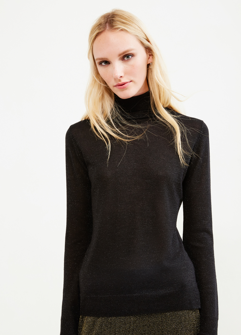 Turtleneck in viscose blend with lurex image number null