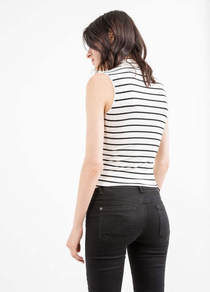 Stretch viscose top with striped pattern