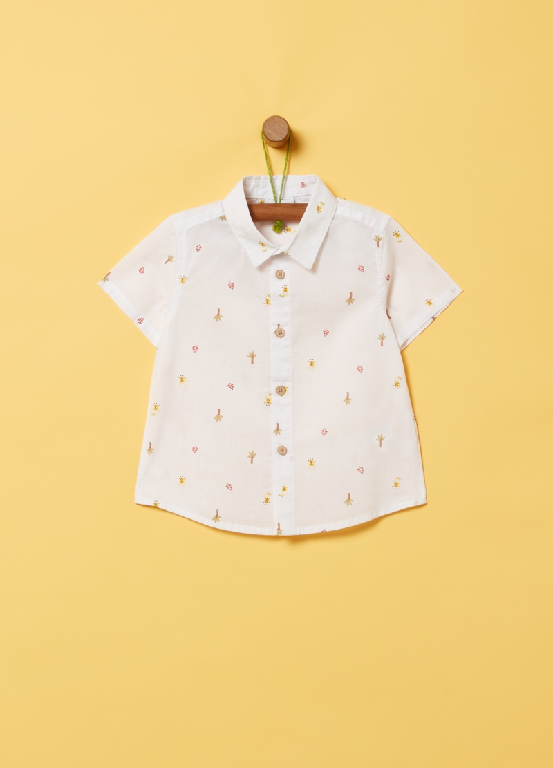 Cotton and linen shirt with print image number null