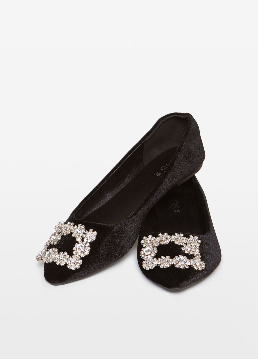 Pointed ballerina flats with diamantés