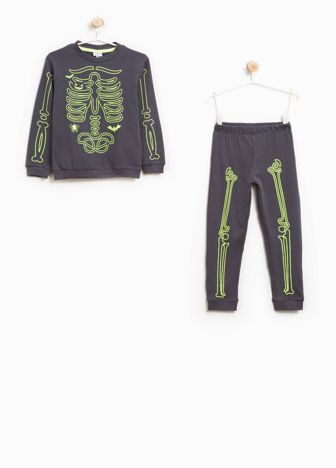 Cotton skeleton print pyjamas