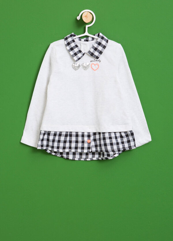 100% cotton T-shirt with check collar | OVS