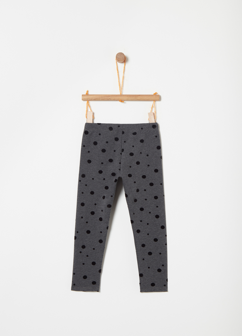 Leggings in felpa con stampa pois flock image number null