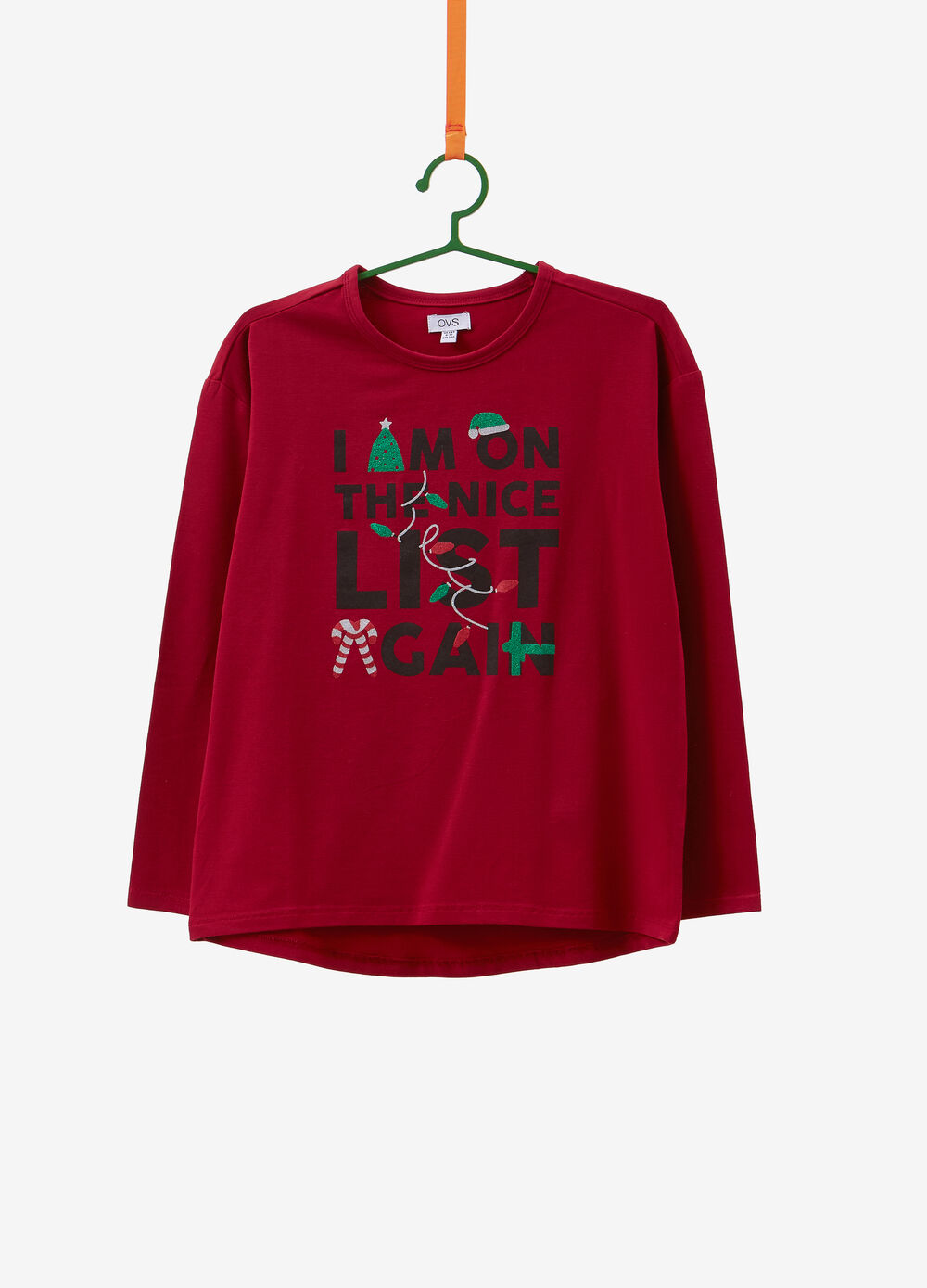Stretch cotton T-shirt with Christmas lettering print
