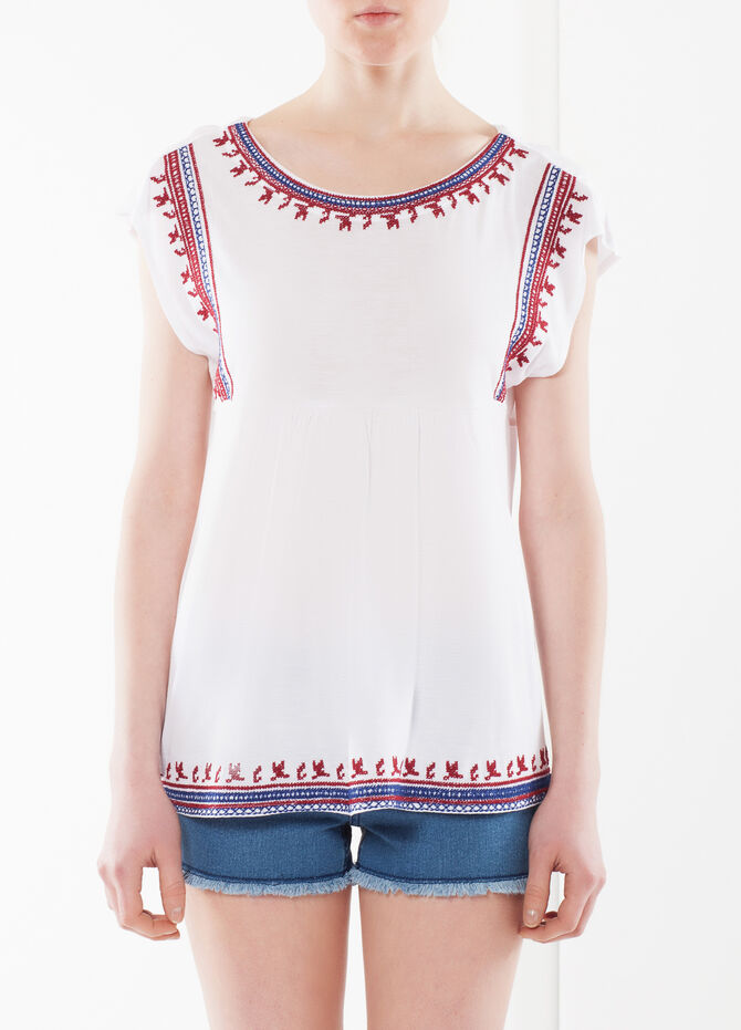 Sleeveless blouse with embroidery