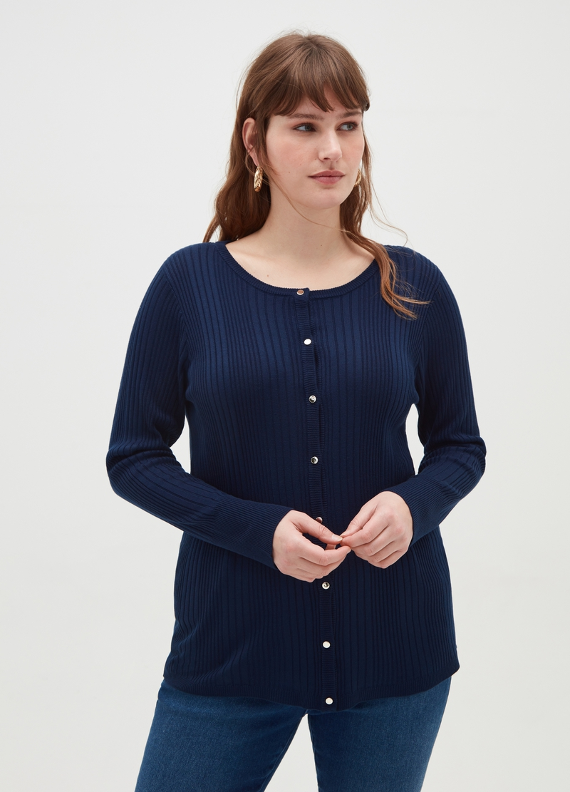 Curvy cardigan with round neck and buttons image number null