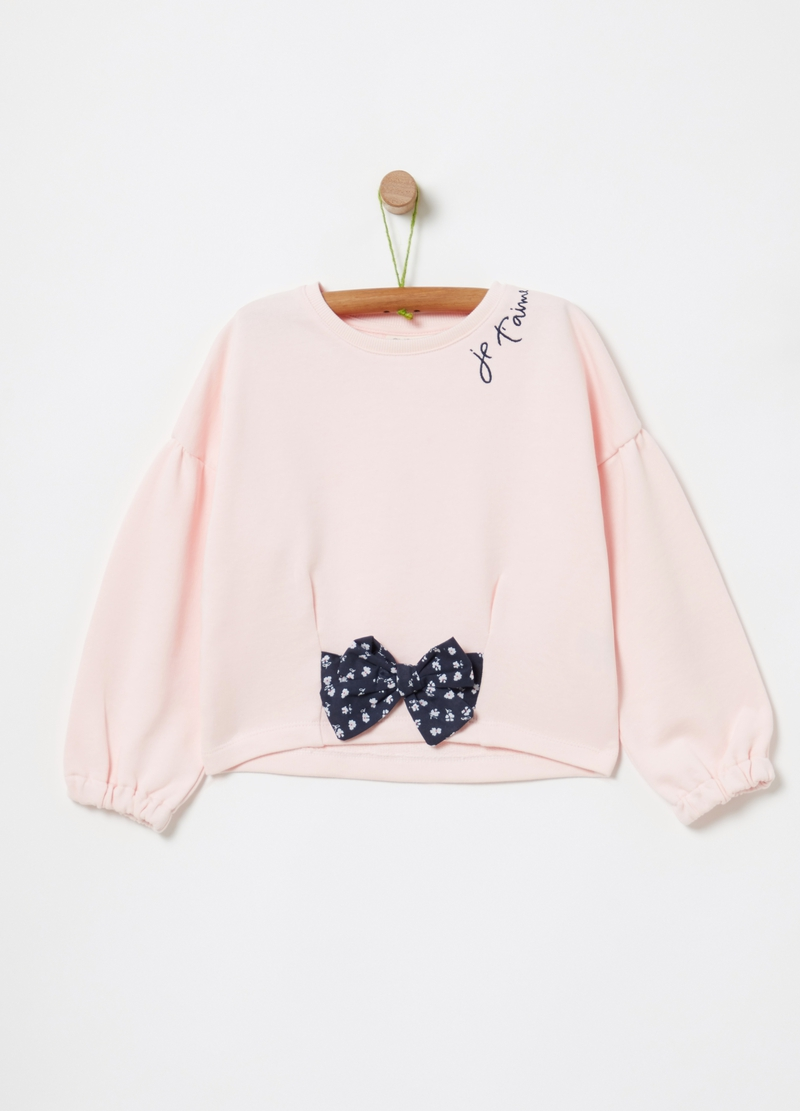 100% cotton sweatshirt with bow image number null