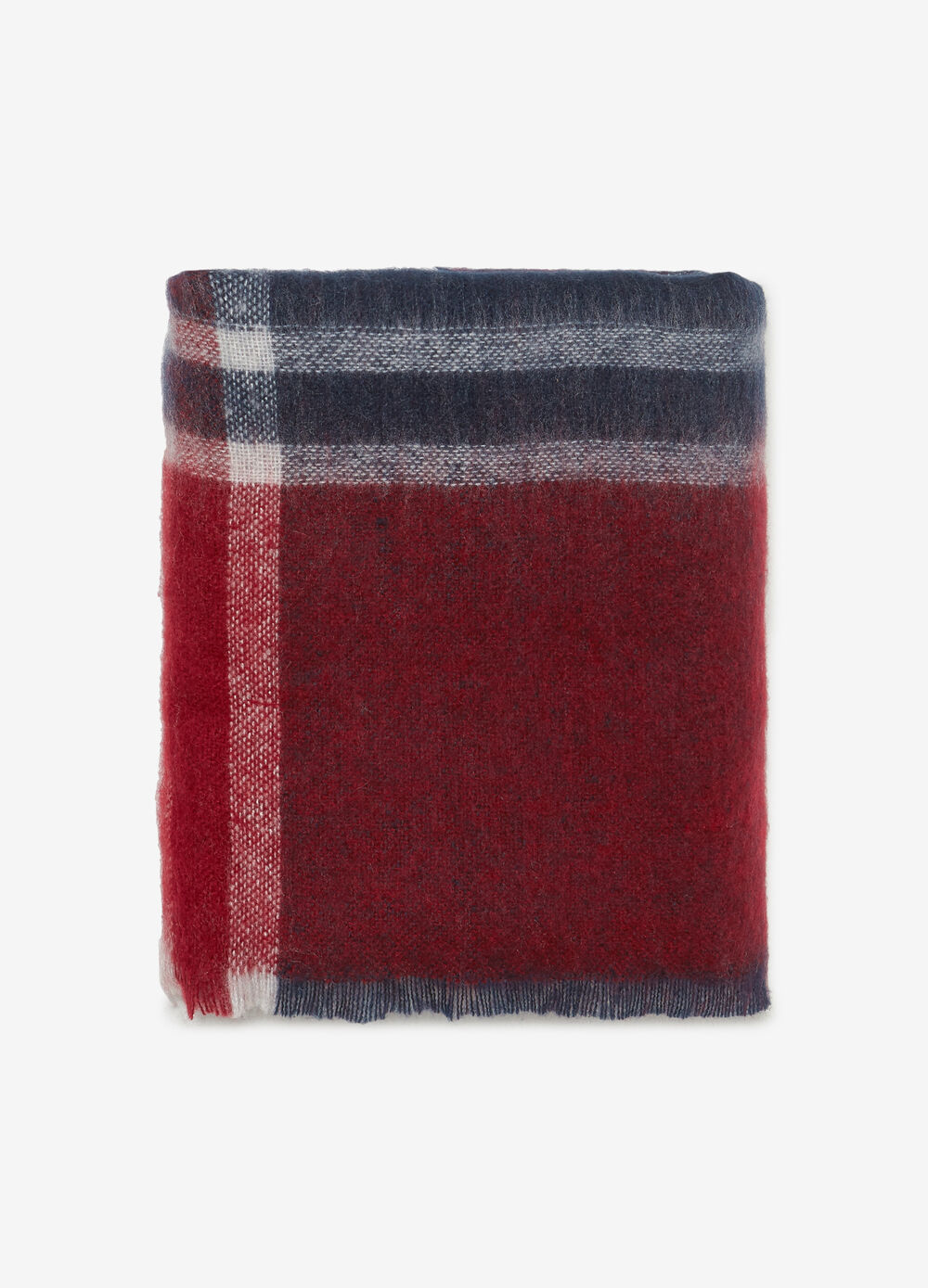 Checked scarf with fringing