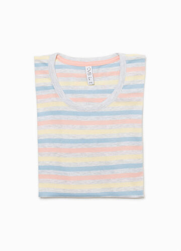 Striped pyjama top with lace