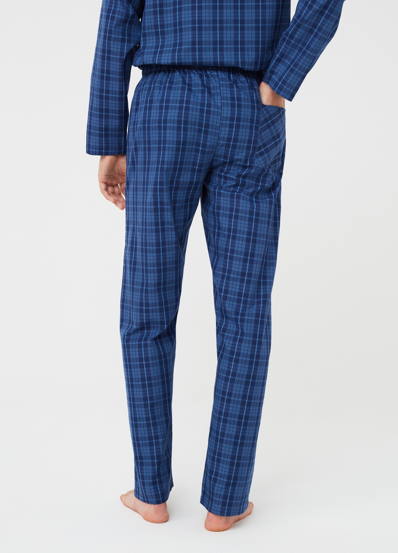 Yarn-dyed canvas pyjama trousers with check pattern image number null