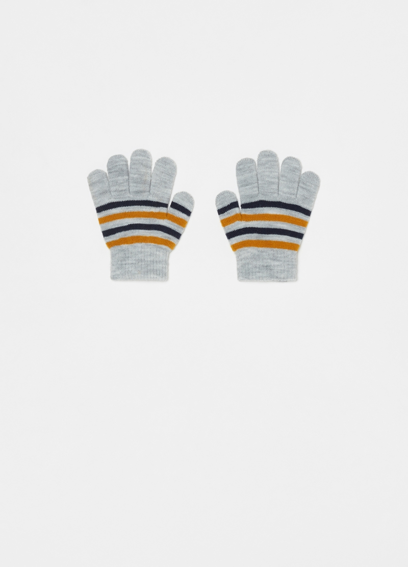 Striped jacquard gloves image number null