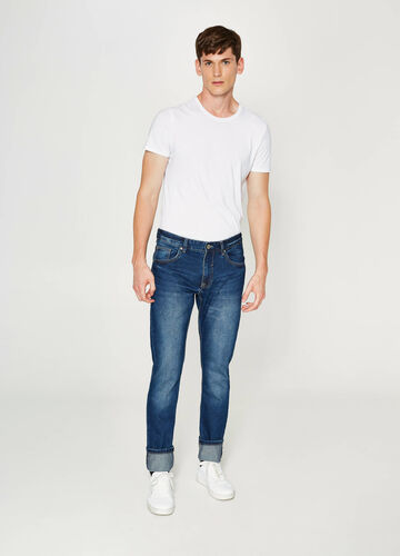 Jeans straight fit used con risvolto