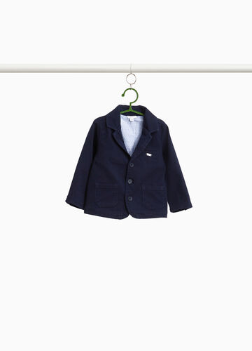 Stretch cotton jacket with three-button fastening