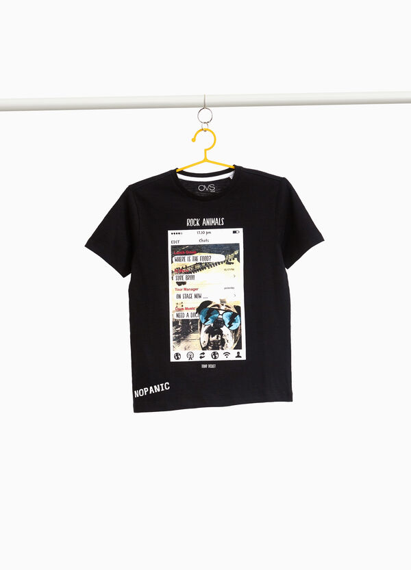 Smartphone print cotton T-shirt