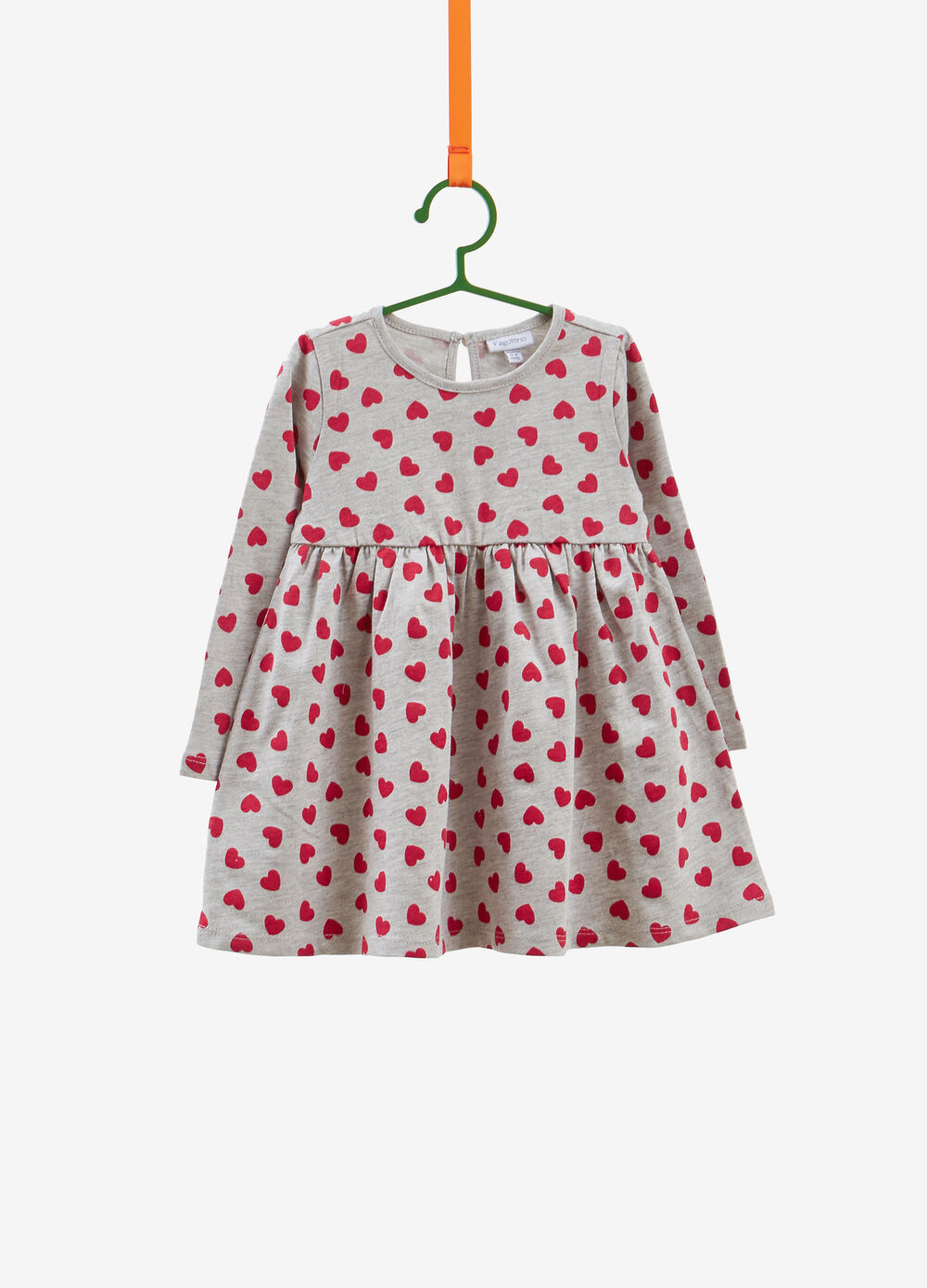 Cotton and viscose dress with hearts