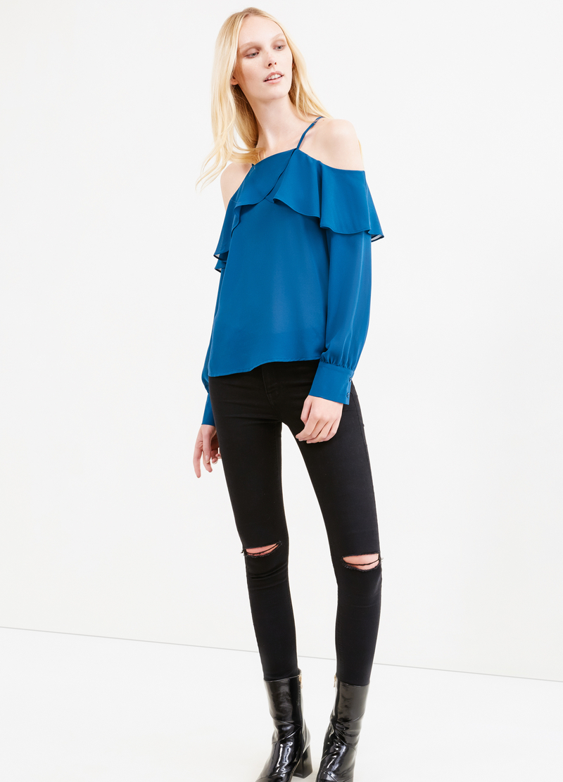Solid colour blouse with flounces image number null