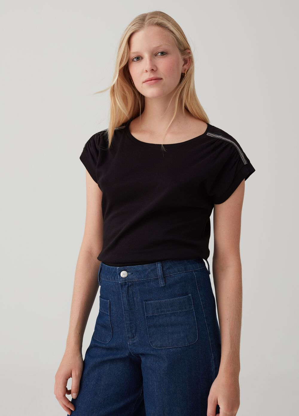 Cotton T-shirt with sequins on shoulders