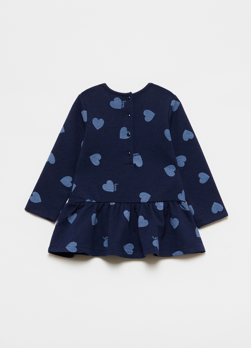 Dress with flounce and all-over hearts print image number null