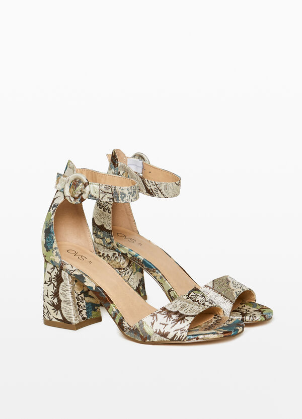 Canvas jacquard sandals with heel