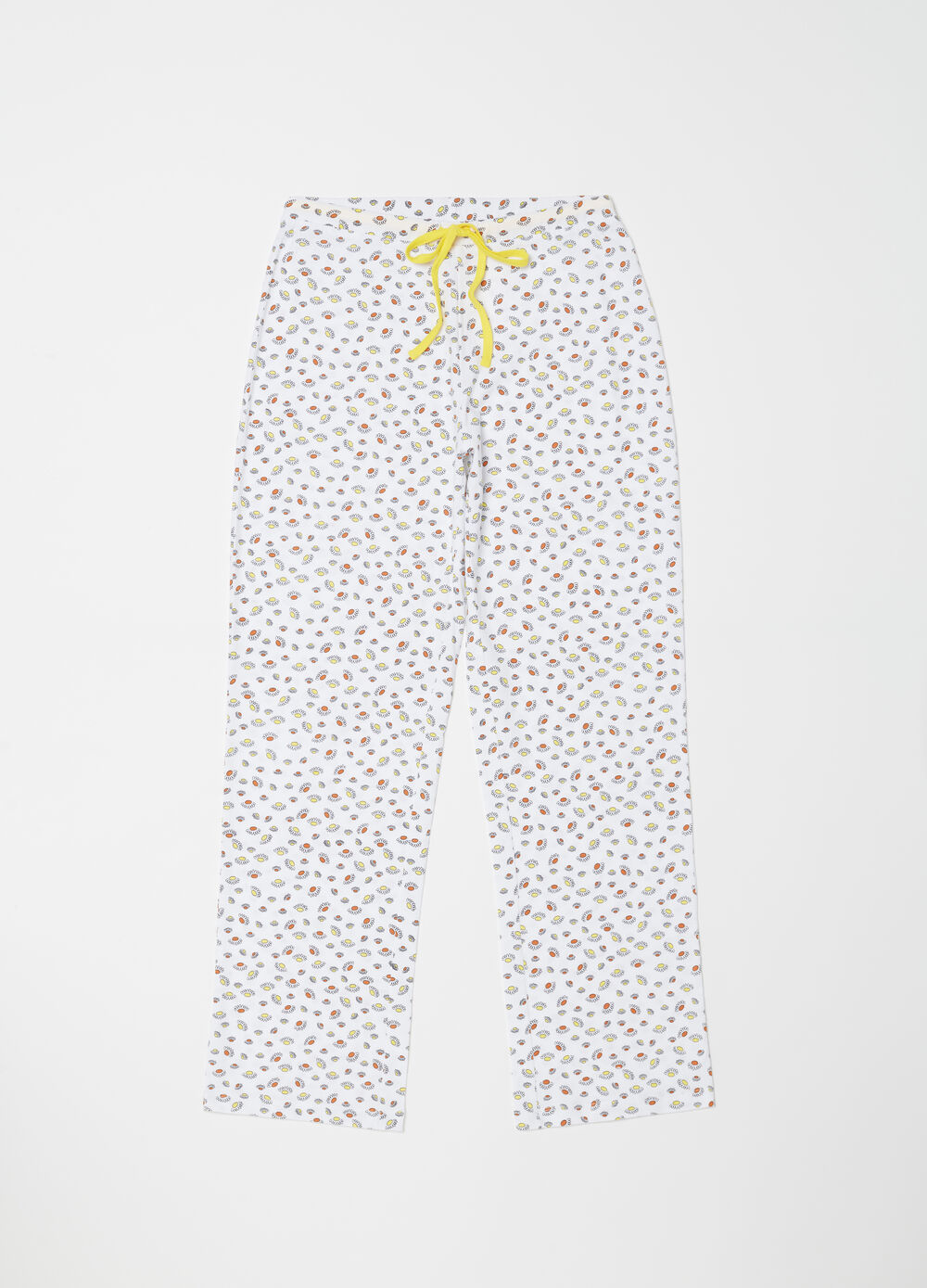 Straight jersey trousers with daisies