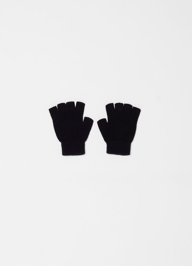 Solid colour fingerless knitted gloves
