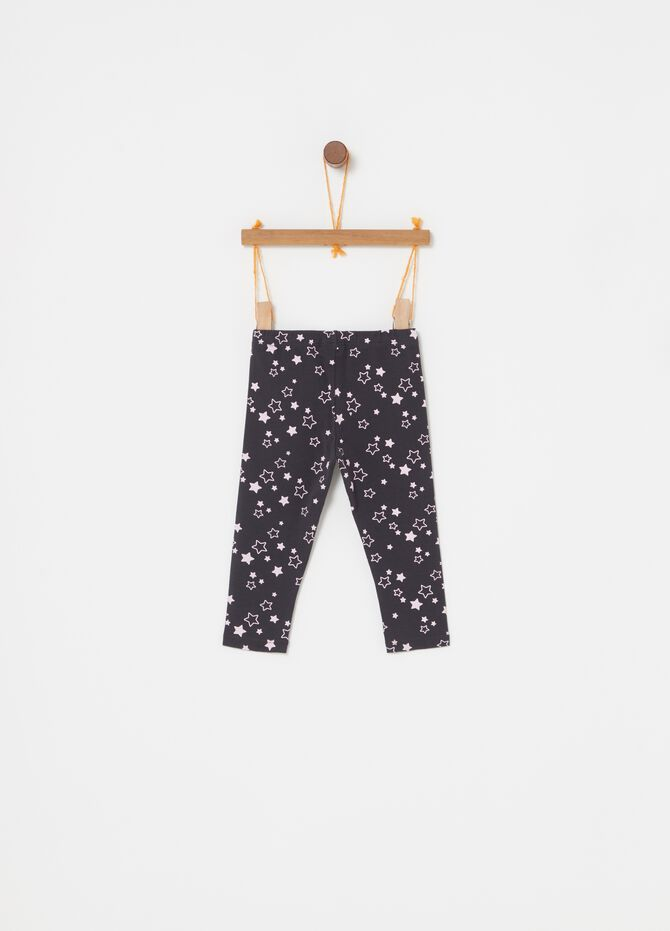 Leggings biocotton stretch stampa stelle