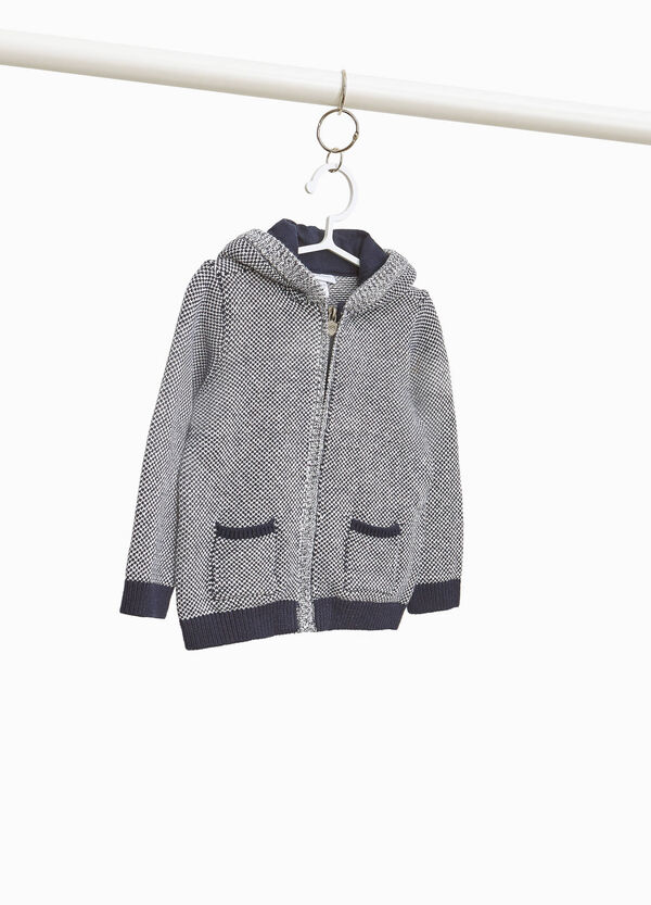 Hounds' tooth cardigan in 100% cotton