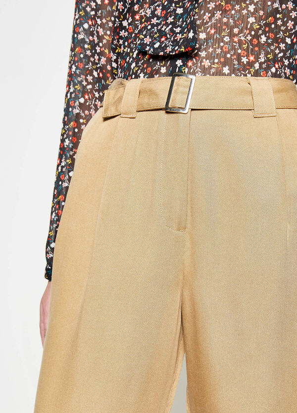 High-waisted crop trousers with belt | OVS