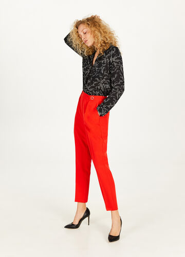 High-waisted trousers with eyelets