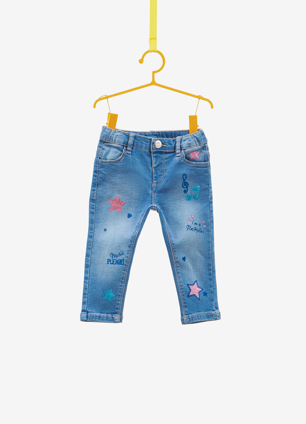 Washed-effect, slim-fit stretch jeans with print