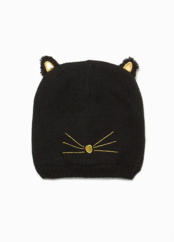 Knitted beanie cap with embroidery and ears | OVS