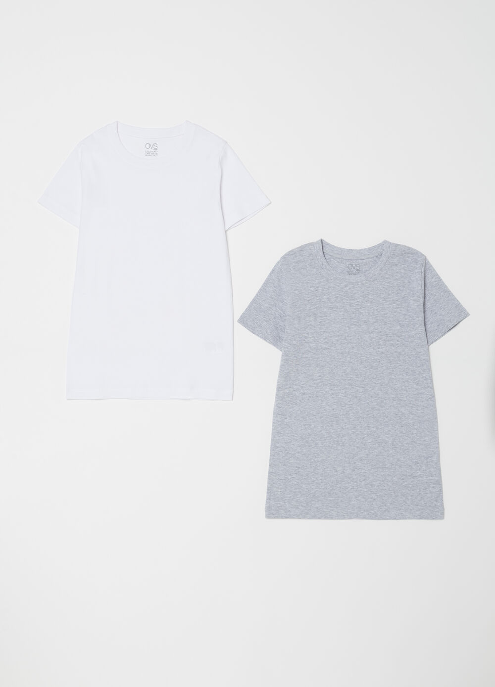 Two-pack T-shirts with ribbing and round neck
