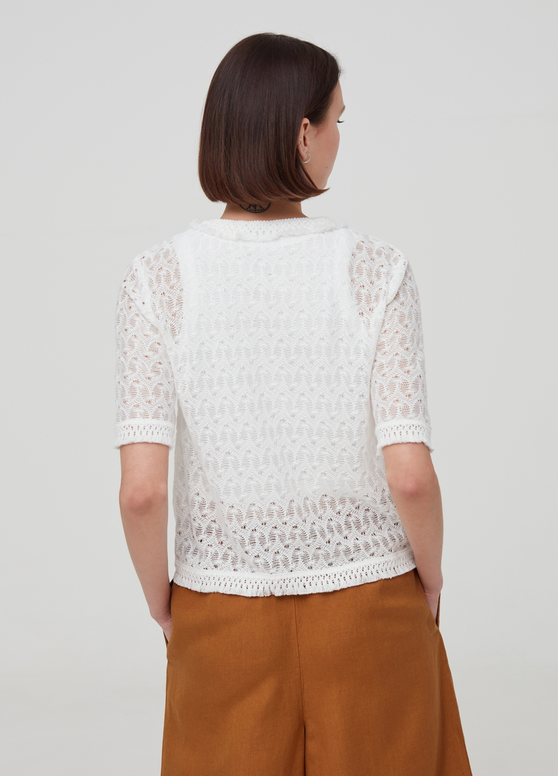 Cardigan with knitted weave image number null